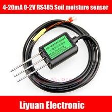 1 pcs RS485 sensore di umidità Del Terreno 4-20mA 0-2 V tensione di uscita del sensore di Umidità del suolo/100% di umidità del suolo volume Cavo di 2 m