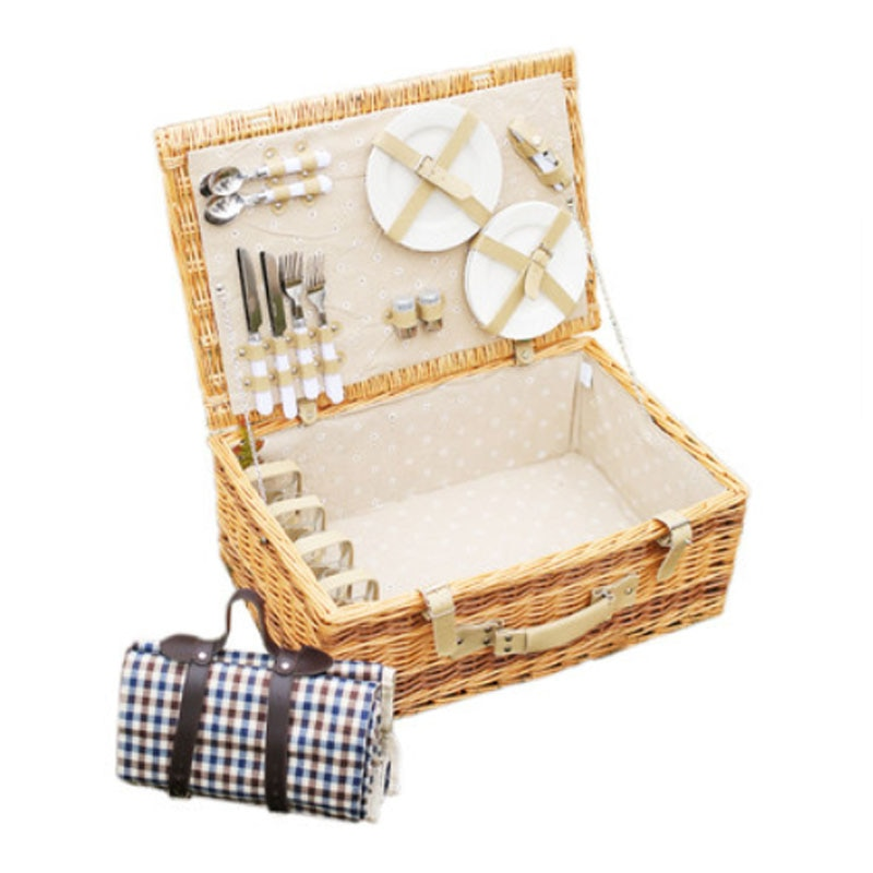 Antique Large Wicker Picnic Basket with Table Mat for 4 People Home Storage Baskets Vintage wicker Picnic Basket Set for Family wicker rattan storage basket box picnic basket fruit flower baskets outdoor picnic wicker gift basket party wedding decoration