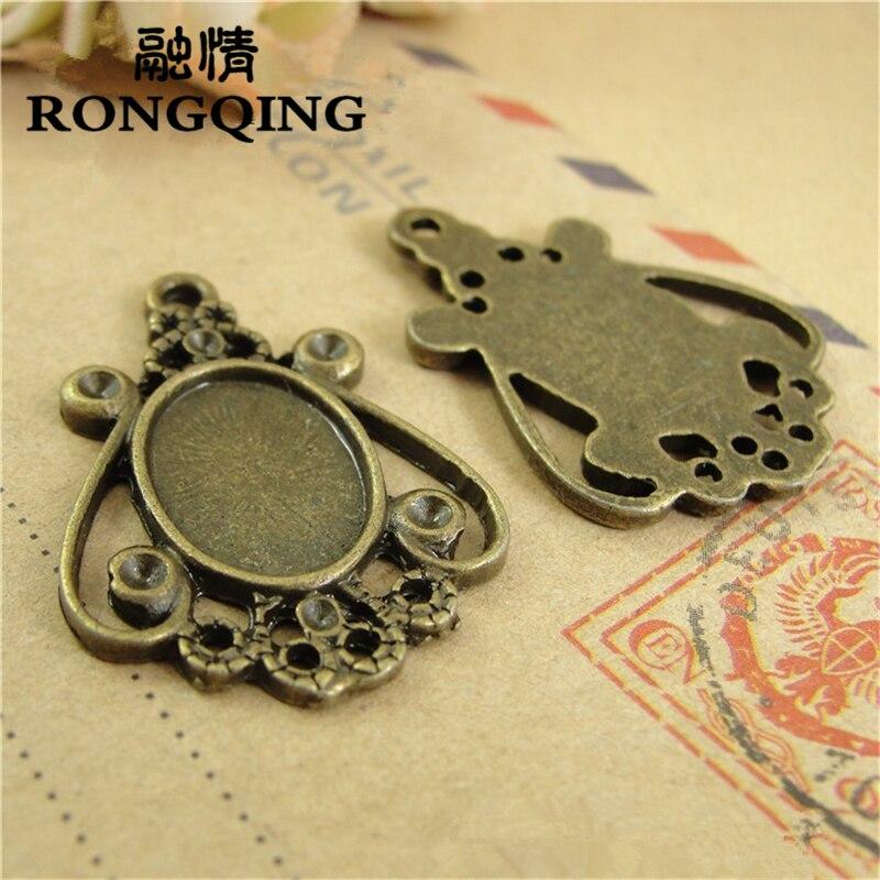 RONGQING 14*10 MM 50 unids/lote Estados Unidos Retro bandeja collar DIY accesorios artesanía al por mayor
