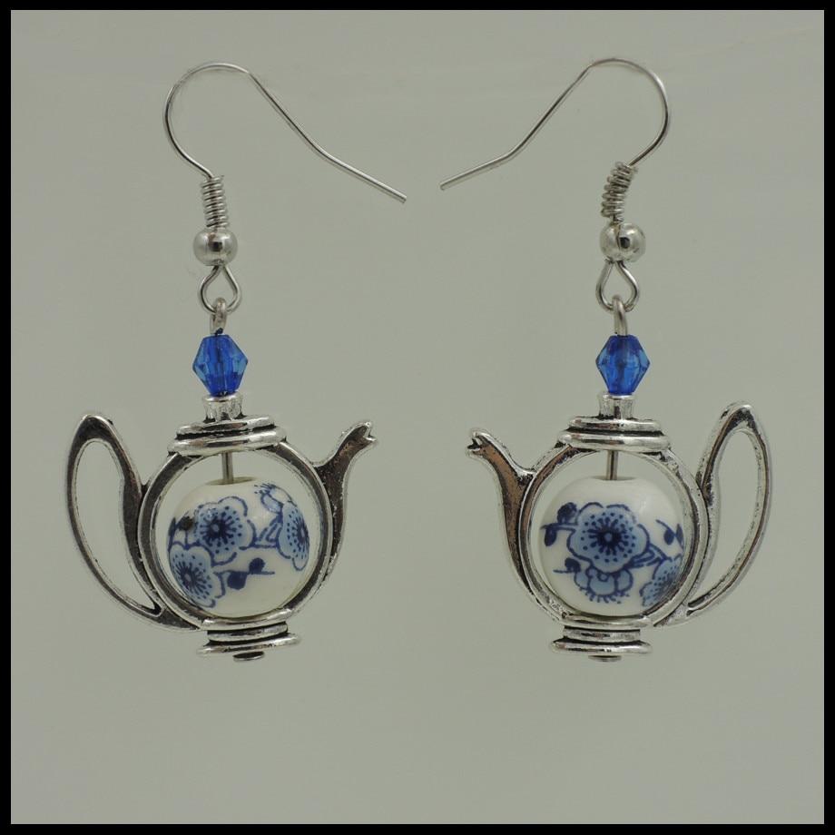 Alice im wunderland inspiriert tee zeit 10mm blau flora kristall accent ohrring ER751