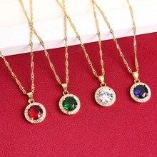 Nouvelle mode breloques rouge bleu vert cristal Zircon 24K or pendentif bijoux