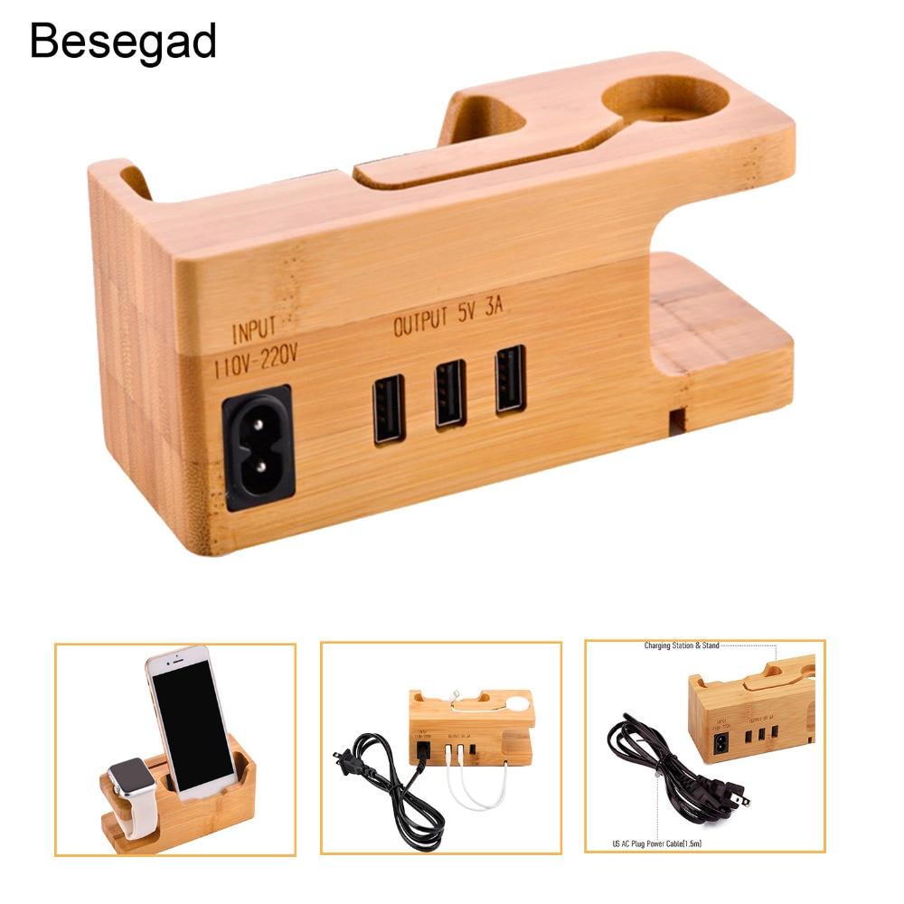 Besegad 3 порта деревянная USB зарядная станция зарядное устройство подставка держатель для Apple Watch iWatch серии 1 2 3 4 iPhone X 8 7 6 6S Plus