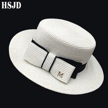 Chapeaux de soleil à large bord pour femmes   En paille française, avec nœud haut plat, chapeau de plage, Anti-UV, casquette dété pour femmes, Gorras