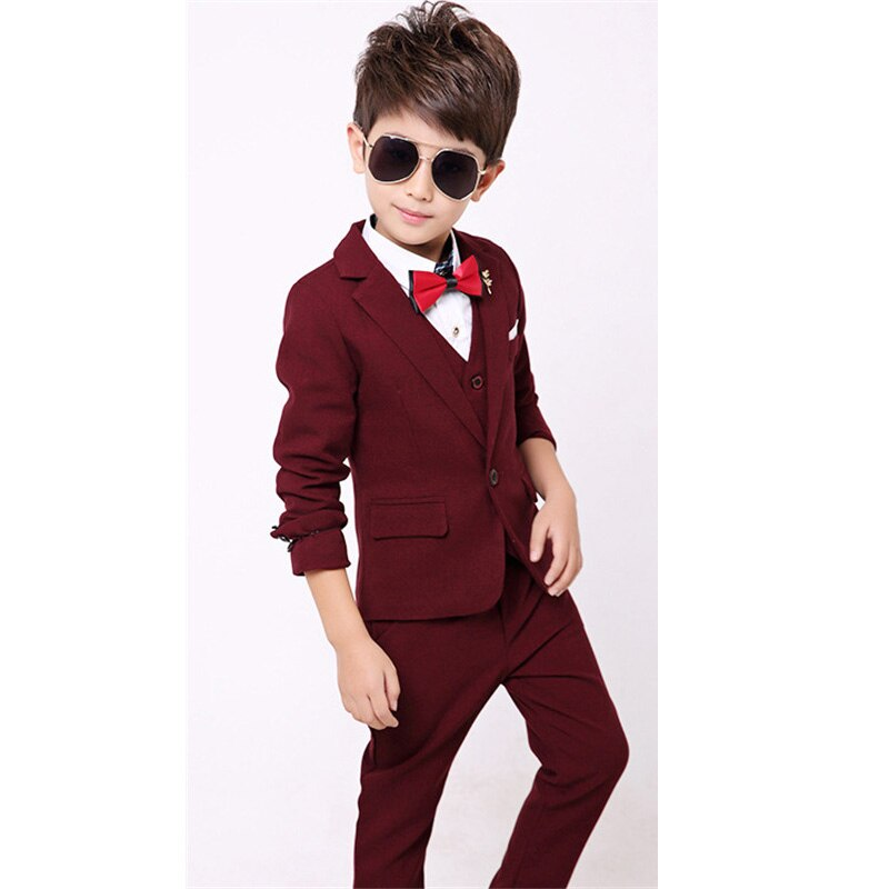 Solid Blue Black Wine Child Suit Gentle Boy Costume High Quality Wedding Flower Girl Suit 2-12Years Kid Vest Jacket Pant sets enlarge