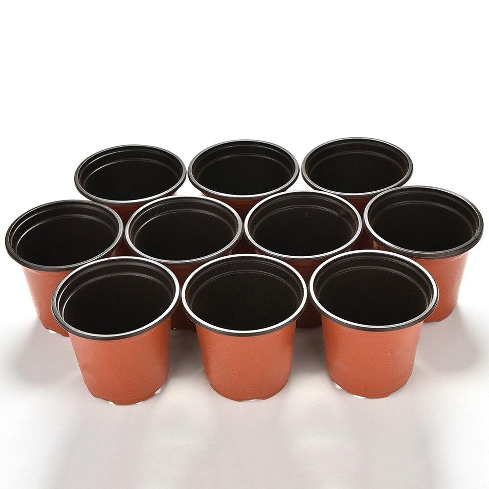 10 Uds Mini de plástico maceta redonda para flores de terracota vivero plantador de hogar Oficina Decoración planta verde Artificial refinamiento de herramientas de jardín