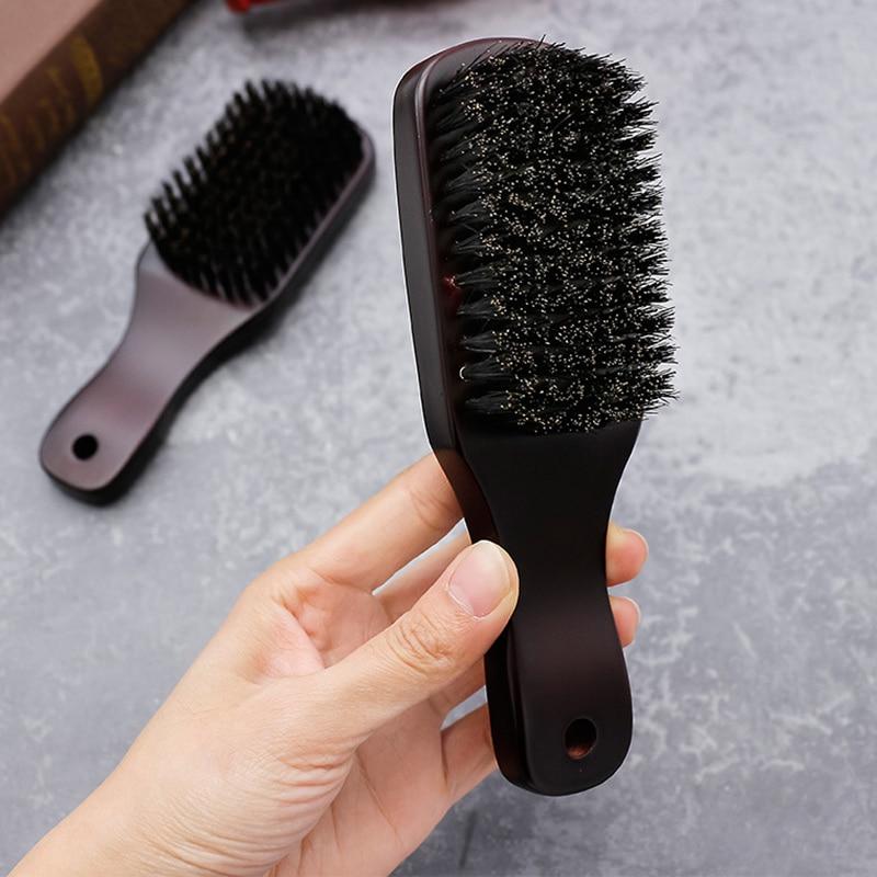 Hommes sanglier soies moustache Portable brosse manche en bois hommes barbe brosse peigne Facial barbe nettoyage brosse de style