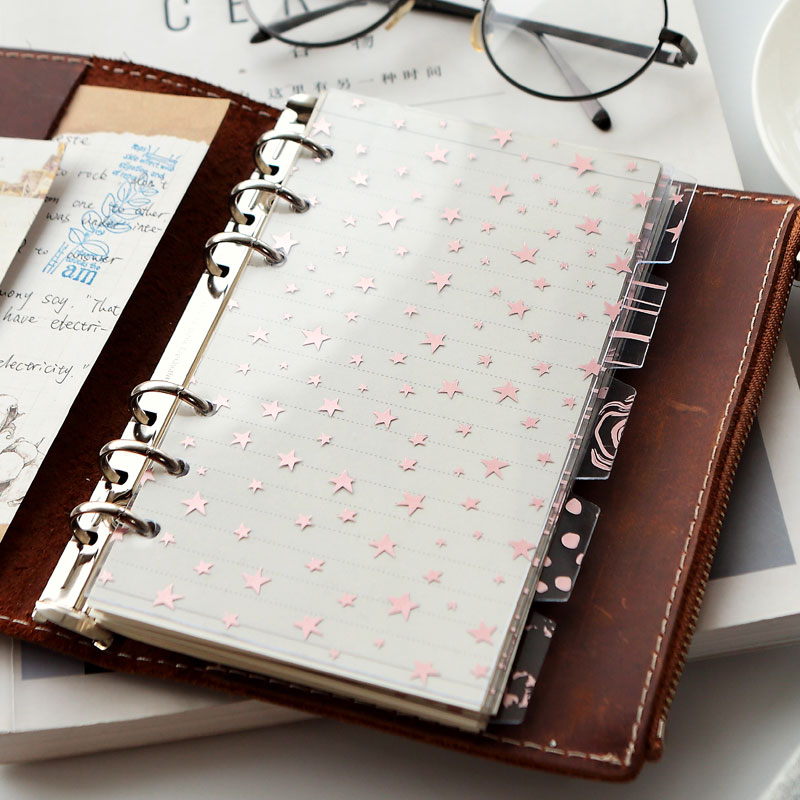 Divisores de índice de cuaderno Kawaii de oro rosa A5A6, páginas de índice de PP transparentes para Filofax, cuaderno de papelería escolar