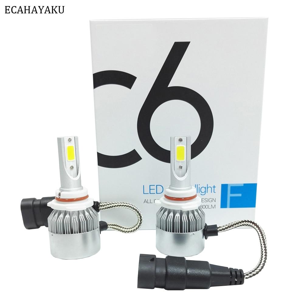 ECAHAYAKU 6 pares todo en uno C6 coche faro Led H1 H3 H7 H11 H4 H13 9005 9007 880 6000K 72 W/Pair 12V 24V DC Led Kits de lámparas antiniebla
