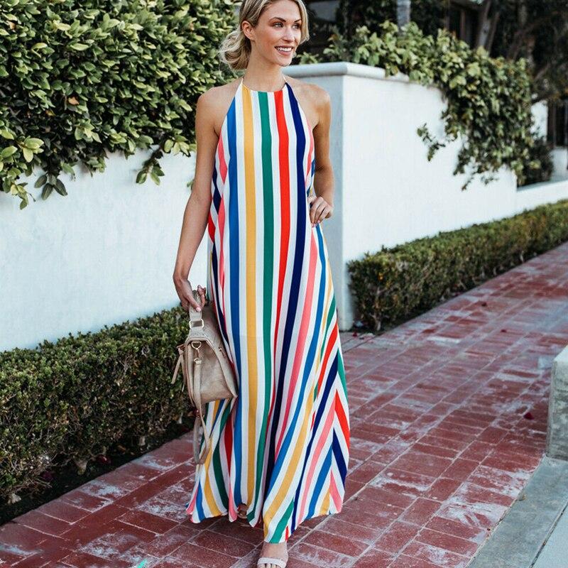 HOT Women Sling Backless Dress Summer Sexy Ladies Sleeveless Beach Stripe Evening Party Long Maxi Sundress