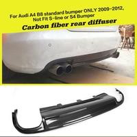 Car Style Carbon Fiber Rear Bumper Lip Car Diffuser for Audi A4 B8 Standard Sedan Only 2009 - 2012