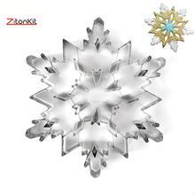 12 Uds. Cortador de galletas grande 3D de acero inoxidable copo de nieve herramientas de decoración de pasteles y galletas bolsa de glaseado aguja de revolver dulces de fiesta de Navidad