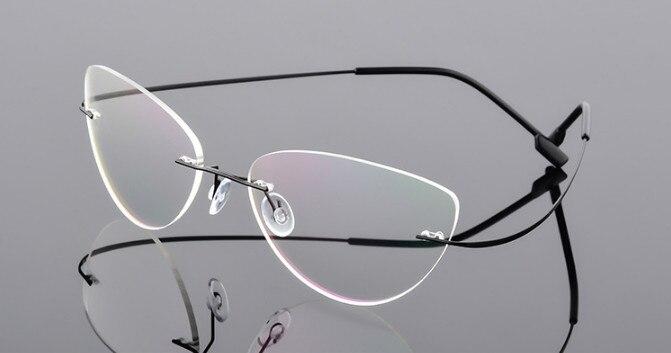 Новые женские очки кошачий глаз из титанового сплава без оправы для близорукости очки по рецепту-0,50-0,75-1,0-1,25-6,00