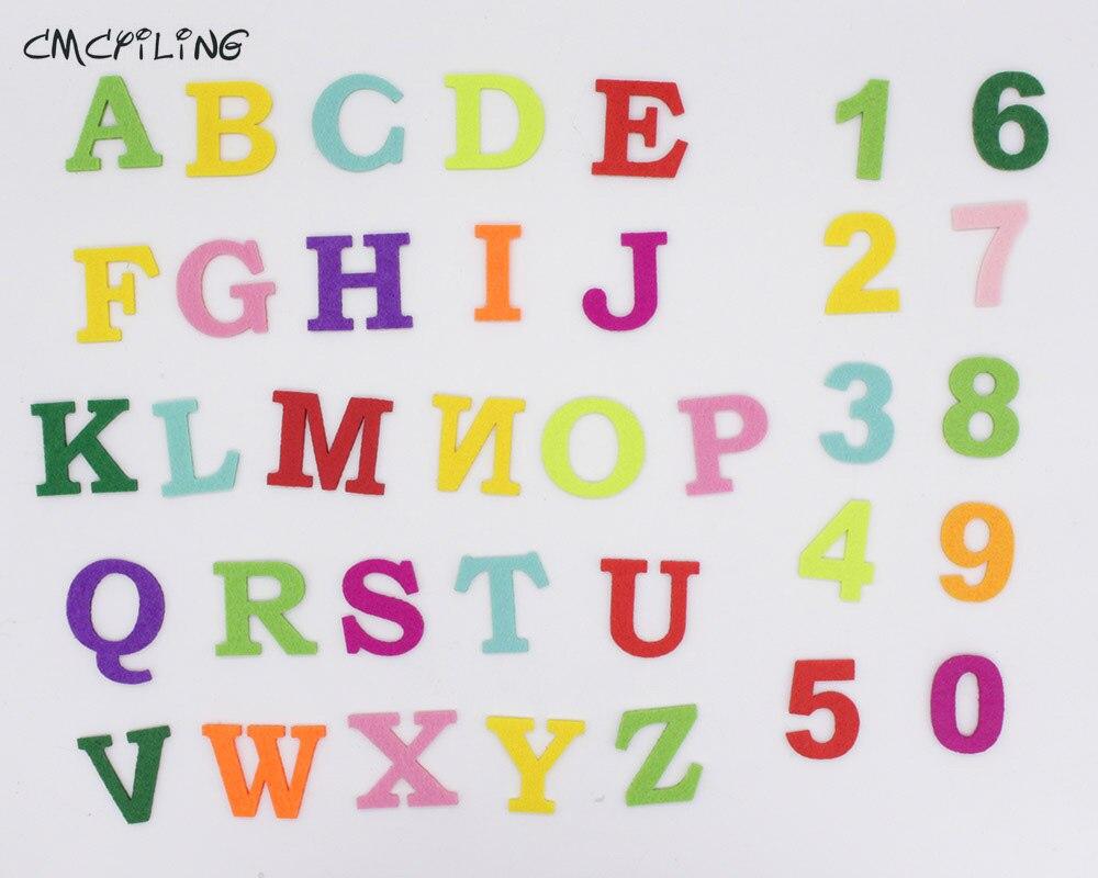 CMCYILING, parche de fieltro de letra de alfabeto inglés 0-9, número de parches de poliéster para educación iluminación infantil, costura hecha a mano