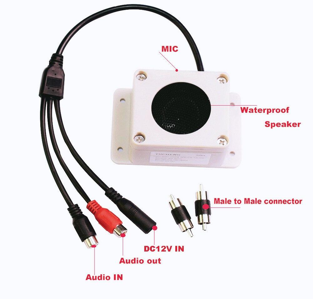 Micrófono altavoz en 1 dispositivo para cámara de seguridad al aire libre impermeable para cámara IP grabación de Audio interfono de Radio de dos vías