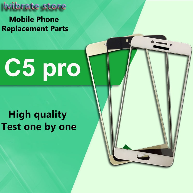 Para Samsung galaxy C5 pro C5010 lente de cristal exterior frontal Pantalla de panel táctil para Samsung C5pro SM-C5010 LCD Touch cristal digitalizador