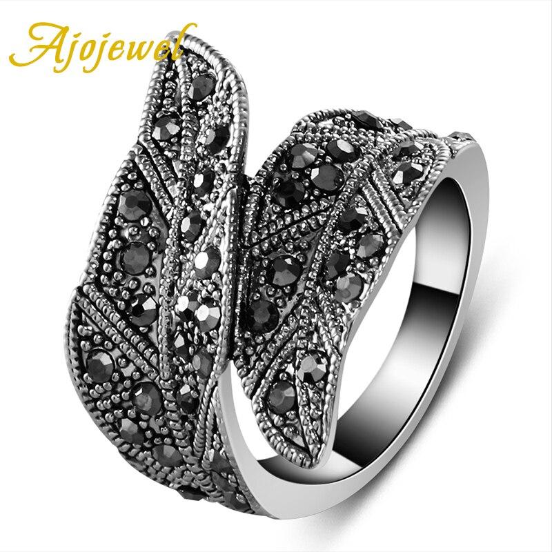 Ajojewel de moda, hoja de circonia cúbica negra, anillo ancho, joyería Vintage para mujeres