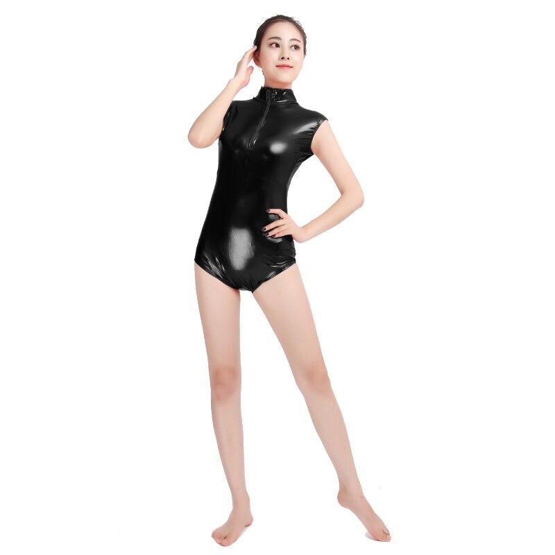 Ensnovo metálico brilhante terno ballet dance wear sem mangas frente zíper unitard preto apertado macacões feminino náilon catsuit unitard
