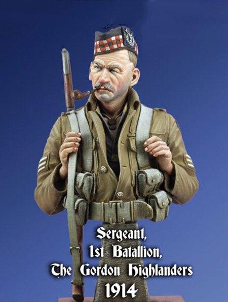 Unpainted Kit  1/ 10  Sergeant Gordon Highlanders bust  figure Historical  Figure Resin  Kit