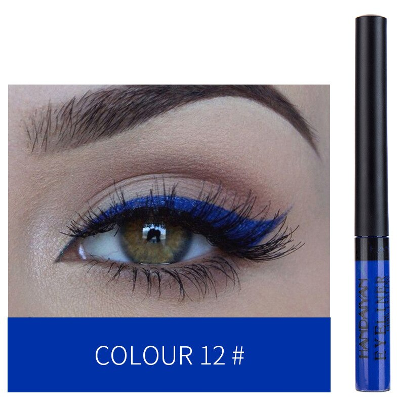 HANDAIYAN waterproof smooth liquid matte eyeliner long-lasting 12 fashion colors set without skipping smudging 50sets/lot DHL