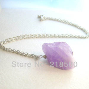 H-QN46 Hearing Crystal Raw  Amethysts Nugget Necklace February Birthstone Sliver Or Gold Color Chain