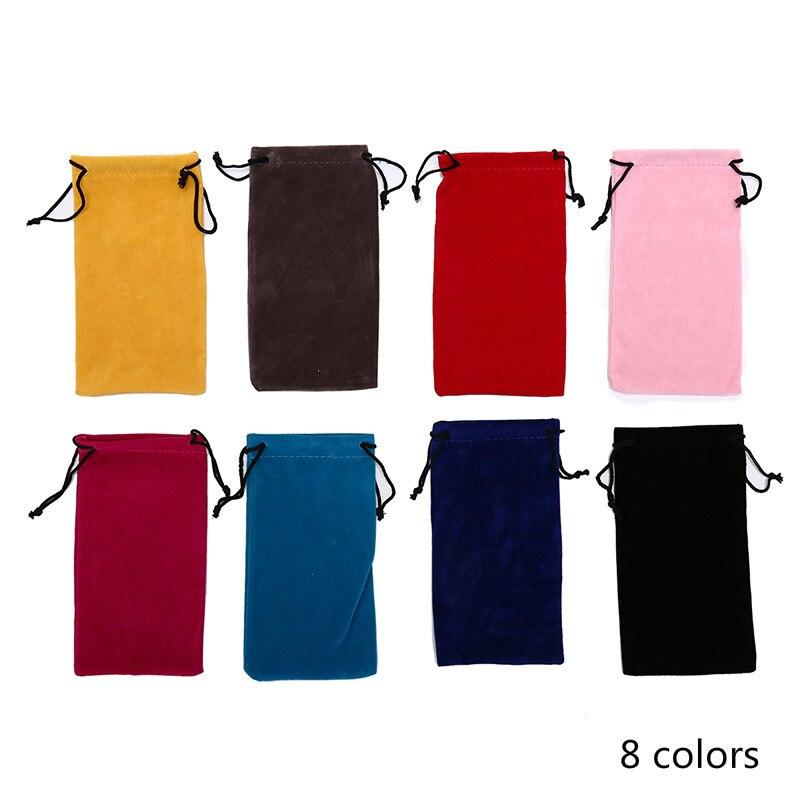 Gafas de sol de Color sólido bolsas con cordón bolsas de miopía estuche de vidrio personalizado accesorios de gafas suave bolsa de gafas nuevo