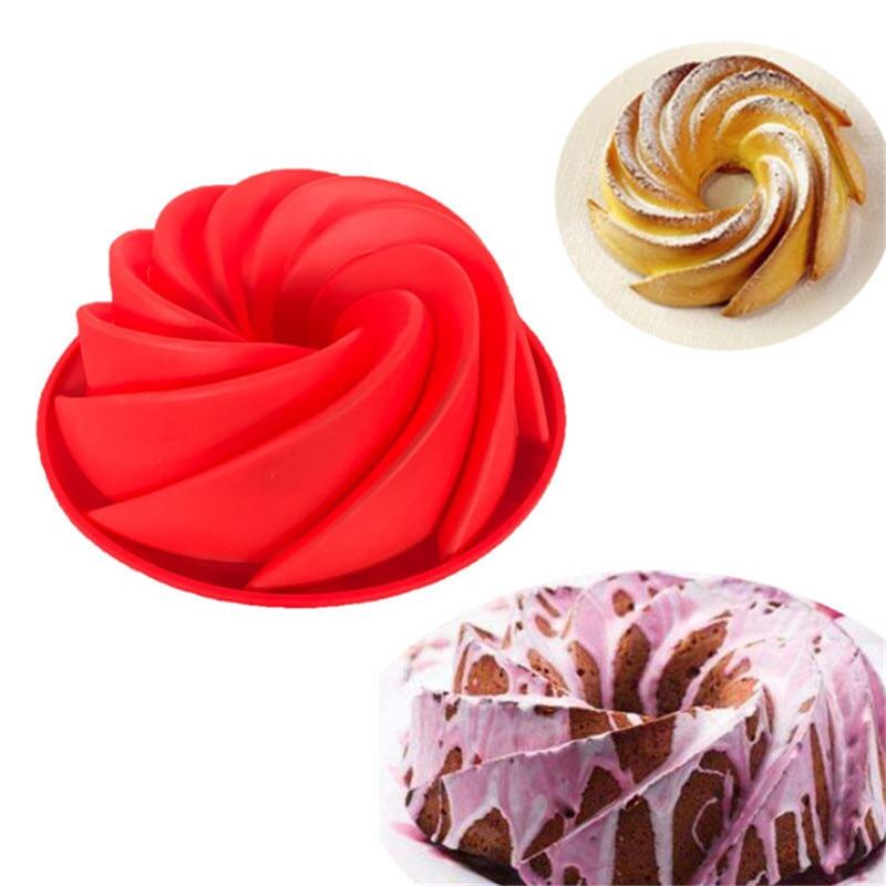 9 pollice big swirl figura del silicone del cioccolato della muffa della torta torte vassoio della vaschetta torte mold dessert utensili da forno della muffa diy di cottura della torta strumenti