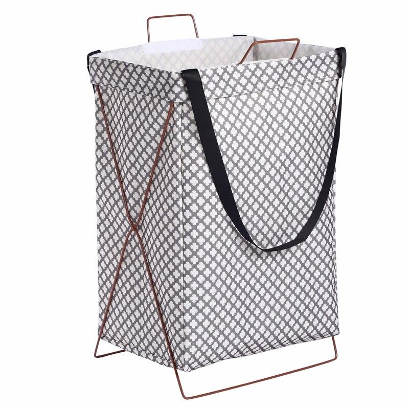 Cestas impermeables para ropa sucia, cesta para juguetes de lavandería plegable de Metal y hierro, cestas de almacenamiento de comestibles con barril organizador