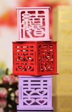 DHL-boîte à bonbons en bois Unique Style chinois   100 pièces par lot, support pour bonbons dragées de mariage