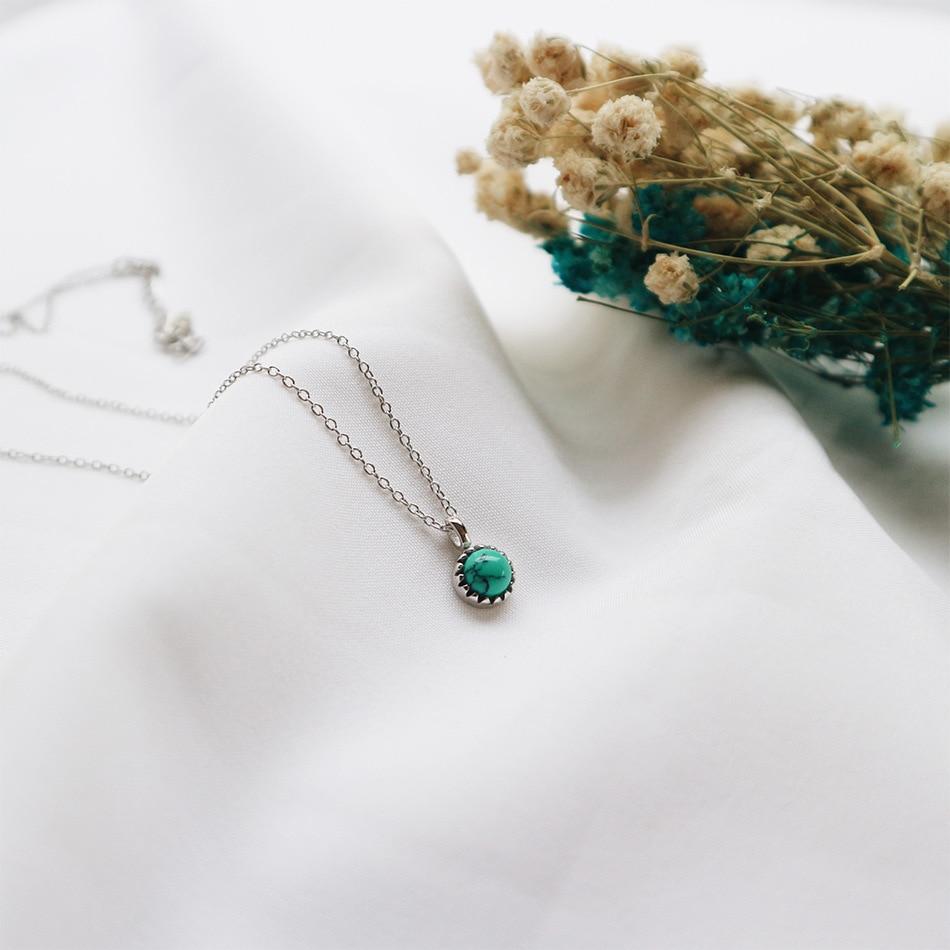 Colar de pingente curto autêntico feminino, 7mm, prata de lei 925 autêntica, azul turquesa, charme para mulheres tlx265