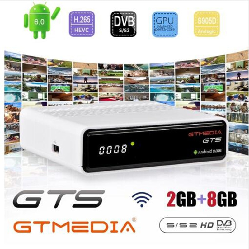 Freesat GTmedia GTS Android 6,0 4K Smart TV BOX Amlogic S905D Combo DVB-S2 Satellite Empfänger 2G/8GB BT 4,0 Set top box cccam m3u