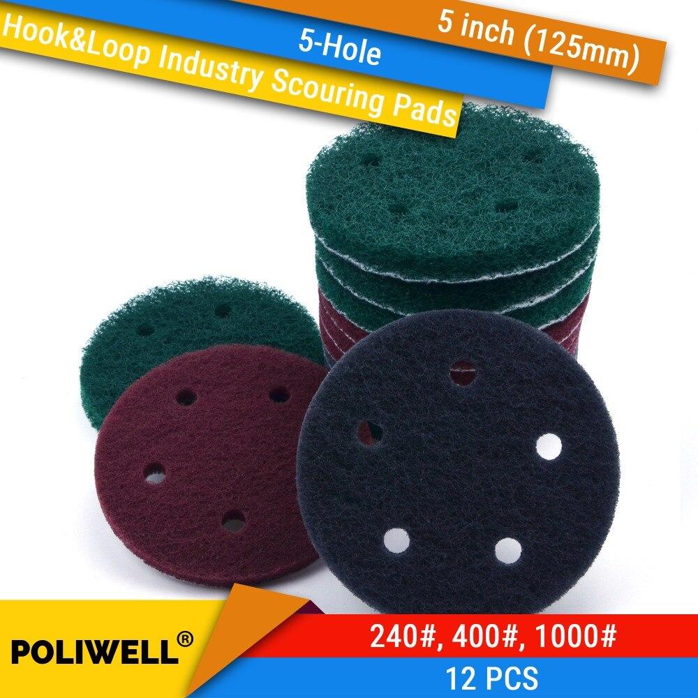 12 Uds. Almohadillas de fregado Industrial de 5 agujeros y velcro de 5 pulgadas 125mm 240 #/400 #/1000 # almohadilla pulidora de nailon para limpieza