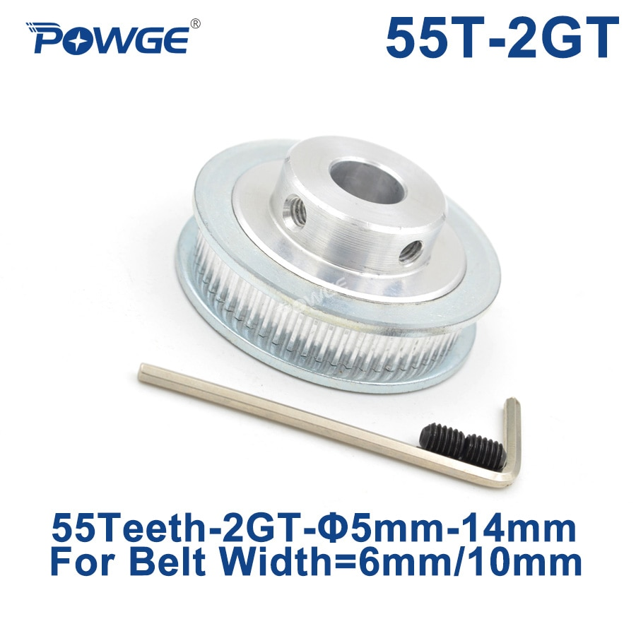 POWGE GT 55 Teeth 2GT Timing Pulley Bore 5/6/6.35/7/8/10/12/14mm for GT2 Open Synchronous belt width 6/10mm wheel 55Teeth 55T