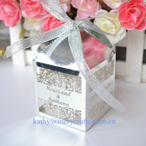 Elegante láser corte plata pastel decoración de la caja de recuerdos para bautismo favores oro cajas de papel para cupcakes