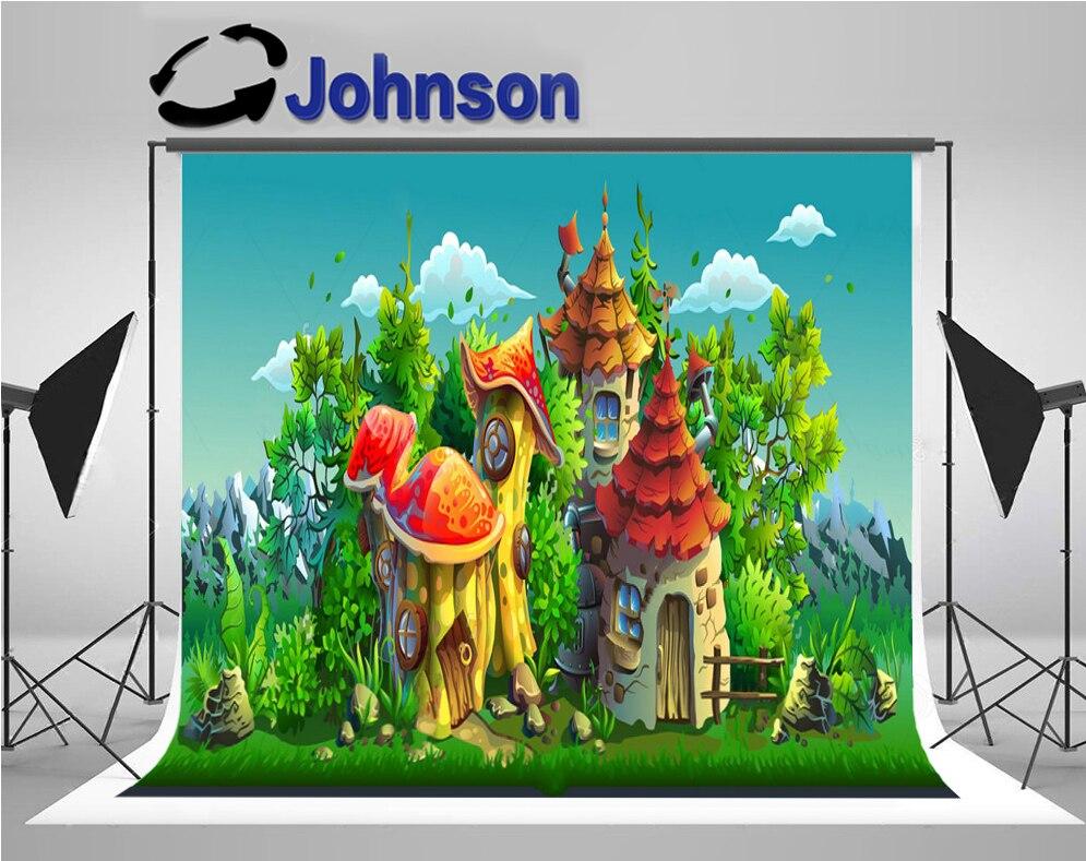 Виниловый тканевый фон высокого качества с компьютерной печатью сказок деревенские дома облака Дерево Трава фоны для фотосъемки