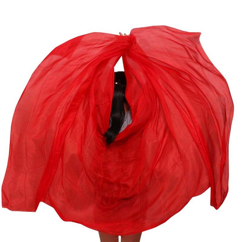 100% шелк реквизит для выступлений на сцене для танцев галстук-краска шелковая Вуаль шали женский шарф костюмы для танца живота фата красного...