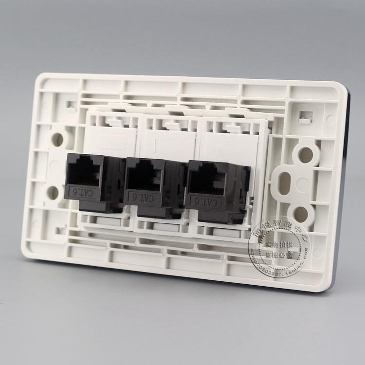 Гигабитная настенная пластина, 3 порта, сетевая LAN RJ45 Cat6 Jack, панель, розетка, Адаптер 120*70 мм, домашний адаптер