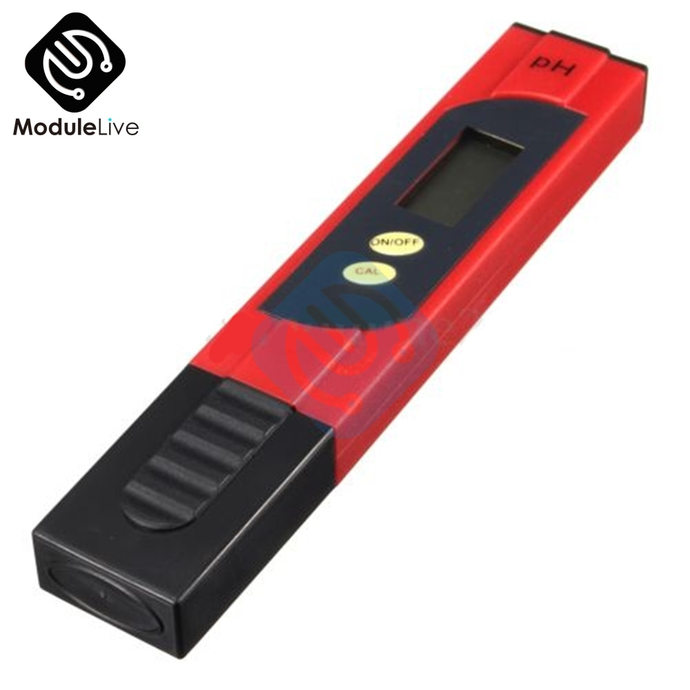 Pluma para prueba de agua portátil de dos botones, con pantalla LCD de Medidor de PH Digital roja de PH, rango de medida de 0,00 a 14,00ph para cualquier agua