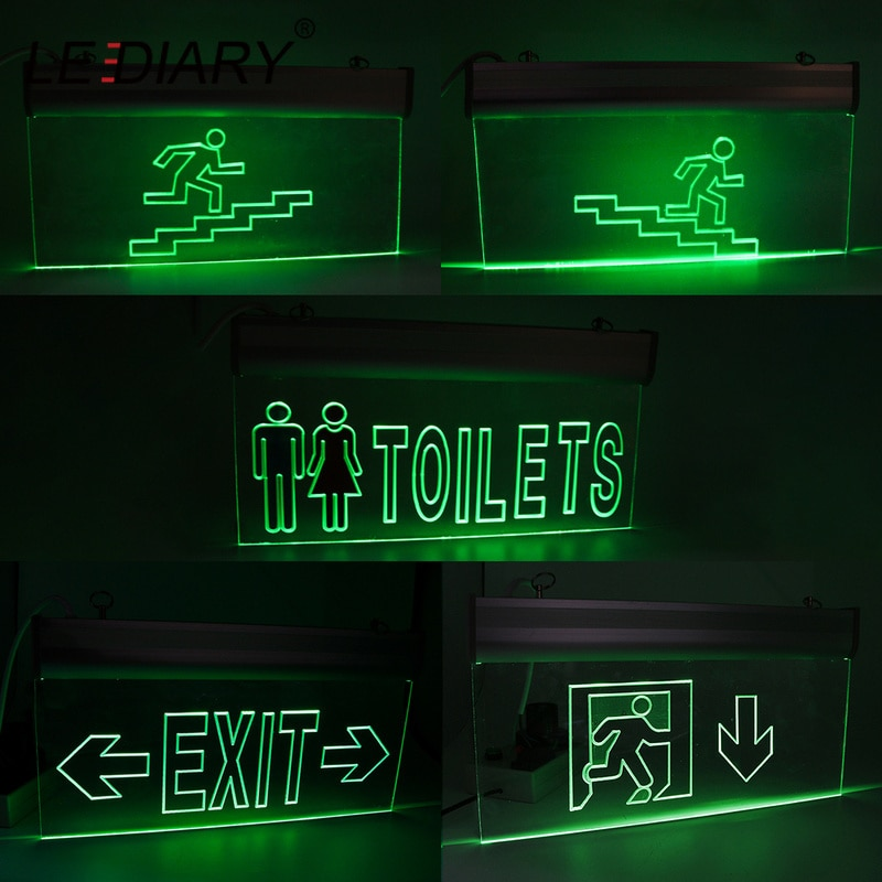 LEDIARY Acrylic Fire Emergency Exit Light Arrow Down The Stairs Toilet Pilot Lamp 220V 2W LED Surface Mounted Ceiling Wall
