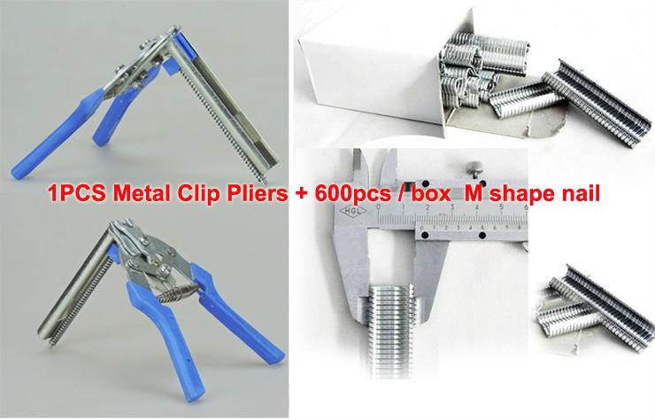 100% New Metal Clip Pliers repairing rabbit chicken duck bird wire Cages farm animals supplier + 600pcs / Box M shape nails