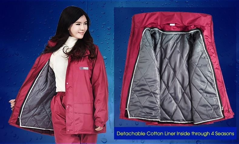 Thicker Warmer Men Women Motorcycle Raincoat Pants with Cotton Liner capa de chuva de motoqueiro chubasquero impermeable enlarge