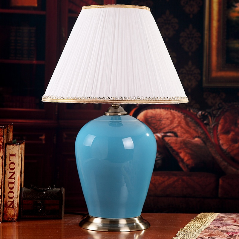 China Antique Living Room Vintage Table Lamp Porcelain Ceramic Table Lamp wedding decoration modern table lamp blue glazed  - buy with discount