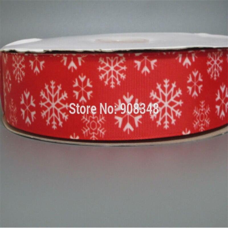 9 16 25 38 50 75 mm width Red Snowflakes printed Grosgrain Ribbon Hair Bows Accessories R433