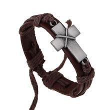 Grote Cross Geweven Unieke Ontwerp Punk Bangle Fashion Vintage Bruin Rock Rood Lederen Armbanden Vrouwen Mannen Sieraden Accessoires