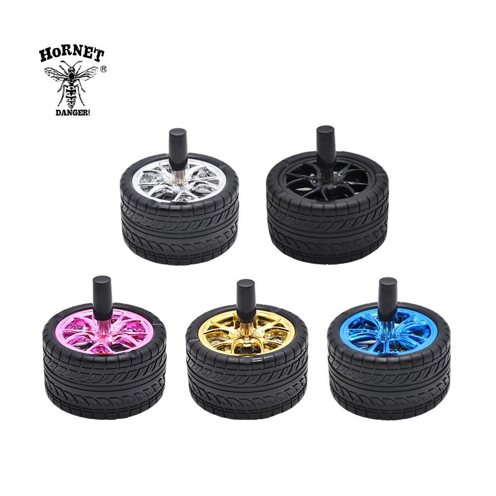 HORNET Creative Rubber Car Tires Ashtray Press Rotary Portable Ash Tray Ashtray Metal Ashtrays With Lids Silicone Ashtray