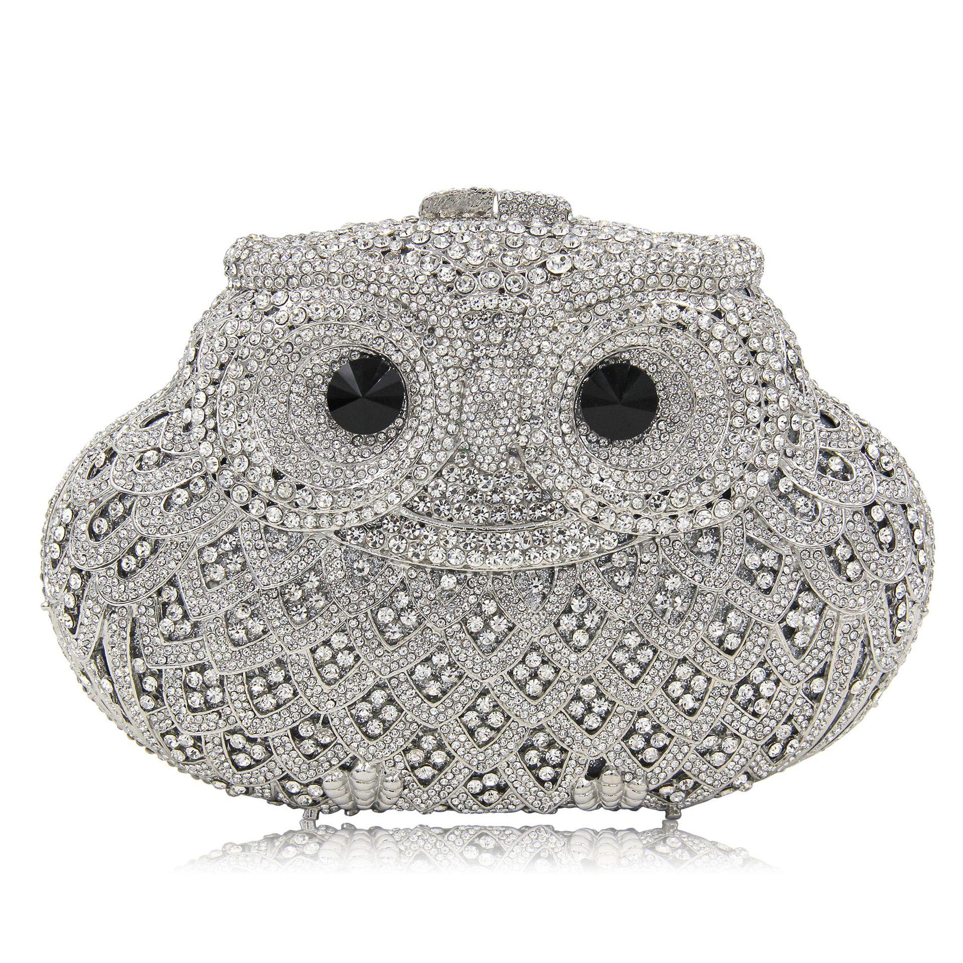 Bolsos de lujo con diseño de búho de diamantes para mujer, bolso de mano de alta calidad para fiesta de bodas borse da donna