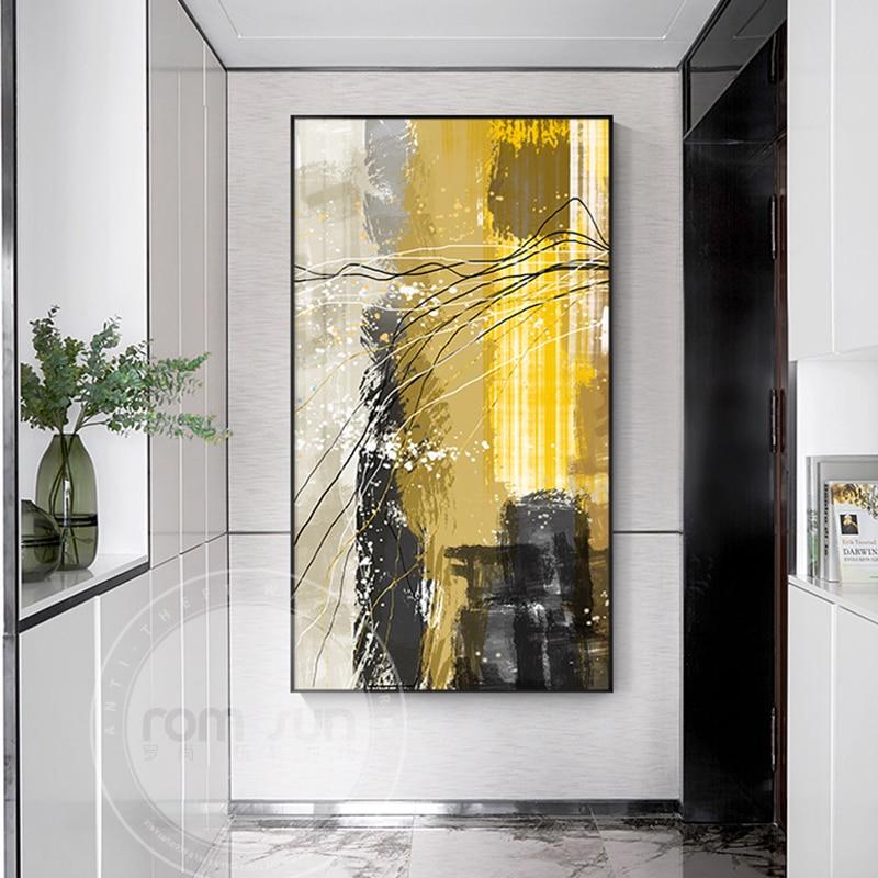 Абстрактные цветные блоки холщовая живопись в скандинавском стиле акварельный постер и принт модный Декор для гостиной HD Настенный декор