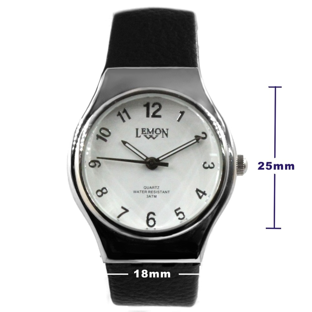 Luxury Brand Unisex Analog Quartz Round Watch Japan Miyota Movement Black Geninue Leather Strap White Dial Water Resistant enlarge