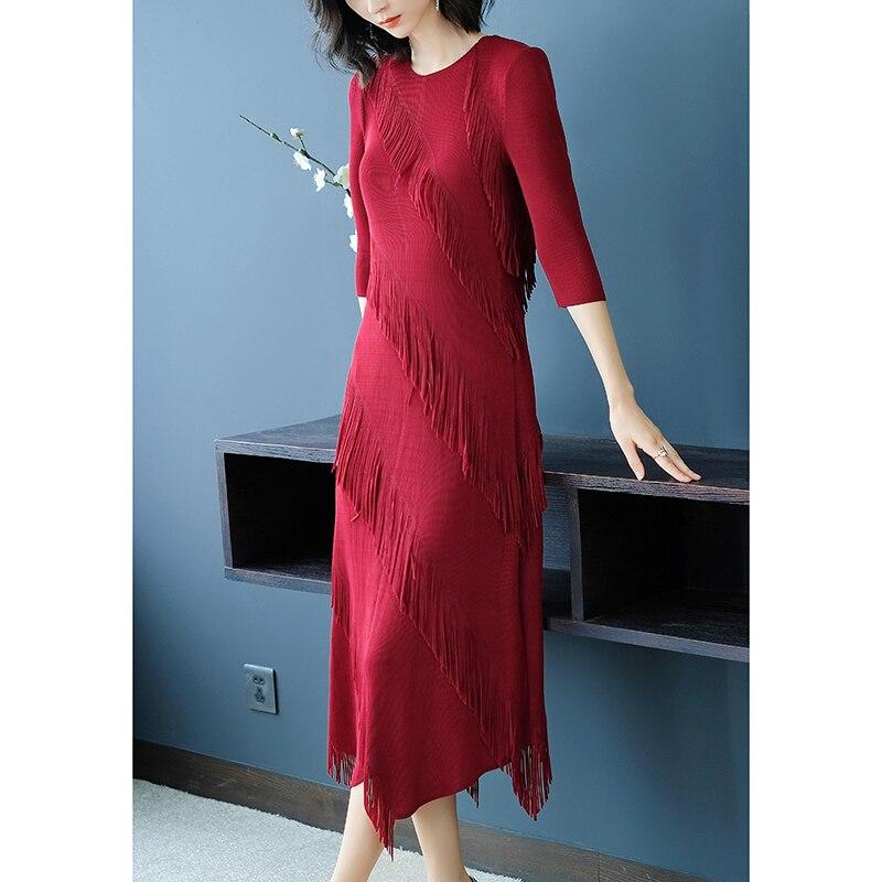 ¡Novedad de otoño 2018! Changpleat vestido de mujer, vestido plisado de Miyak con diseño de moda, manga 3/4, cintura elástica delgada, vestidos femeninos Tide D89
