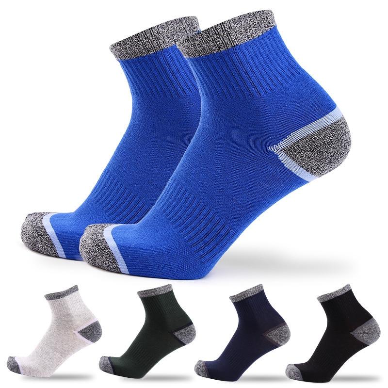 Novedad en 5 pares de calcetines de algodón para hombre, calcetines deportivos de secado rápido para hombre, calcetines de Otoño Invierno, calcetines térmicos de rayas para hombre, EU39-45 de trekking