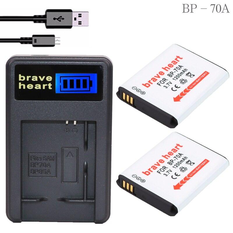 LCD cargador + 2x1200maH 3,7 v batería BP 70A BP-70A de batería...